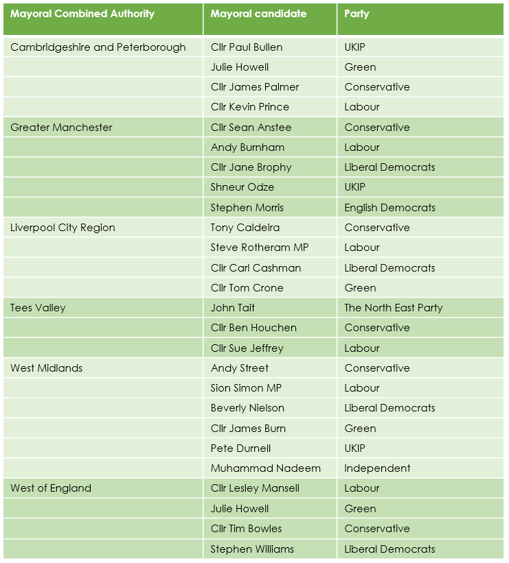 Figure 3: List of May 2017 Mayoral Election Candidates