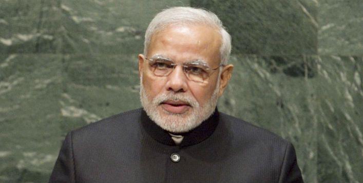 Narendra Modi, primeiro-ministro da Índia, em discurso na Assembleia Geral da ONU em 2014. Foto: ONU