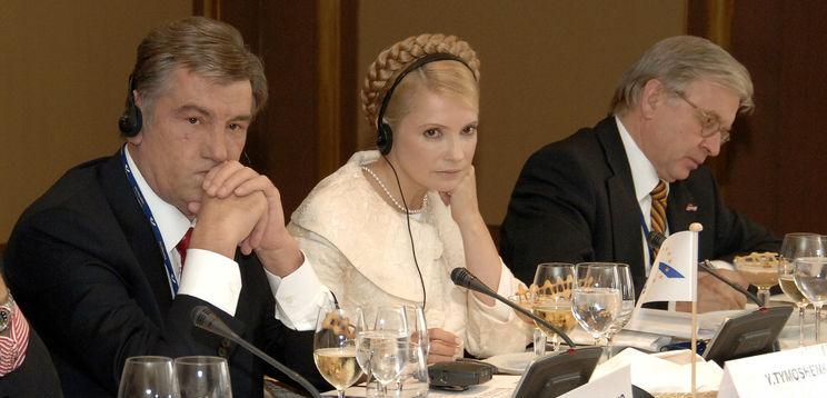 Yushchenko e Tymoshenko no European People's Party Summit 2007. Imagem: EPP / Creative Commons / Flickr