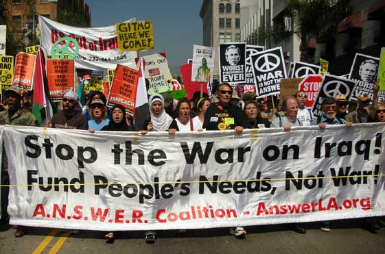 March 17 antiwar march L.A. English banner
