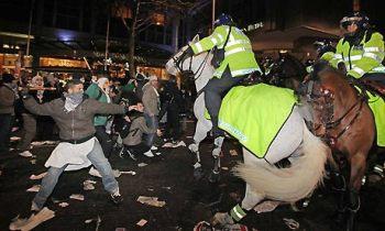 protestors clash with police in Britain