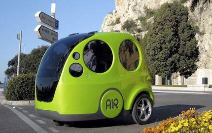 The AirPod has three wheels and runs on compressed air