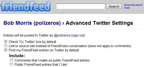 Friendfeed can automatically repost to twitter