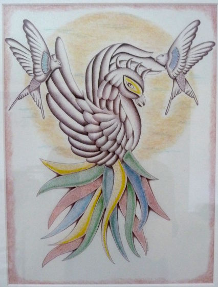 quetzal and hummingbirds.Jack Morris. prison art