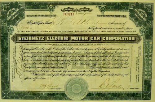 Stock certificate for Steinmetz Electric Motor Car Corp