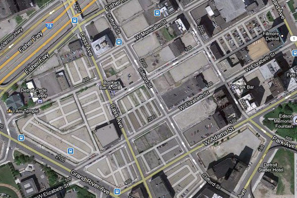 Near downtown Detroit. Blocks that no longer have buildings