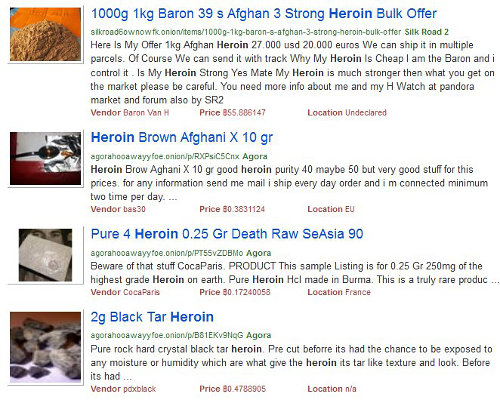'Heroin' search om Grams