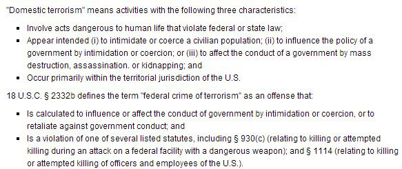 FBI definition of terrorism