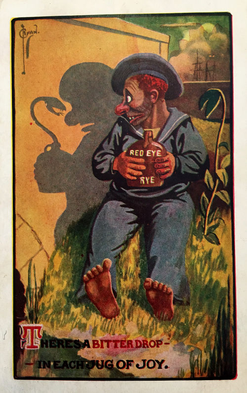 Temperance postcard. Bitter drop