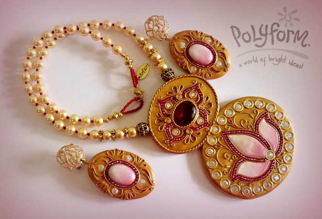 Exotic Gold Polymer Clay Pendant