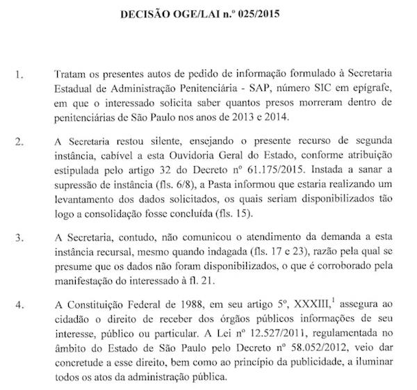 Decisão do Ouvidor Geral do Estado, Gustavo Ungaro, em 29 de julho de 2015