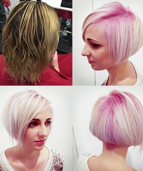 Pink, Short Straight Bob Haircut
