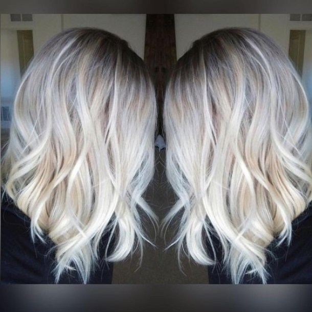 Pretty Everyday Hairstyle for Shoulder Length Hair - Platinum Blonde Balayage, Ombre Hairstyles