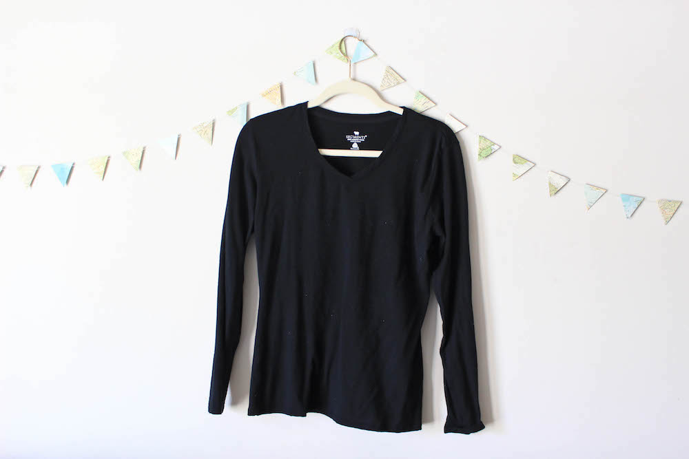 Black Wool V-Neck Tee in a winter capsule wardrobe for Project 333