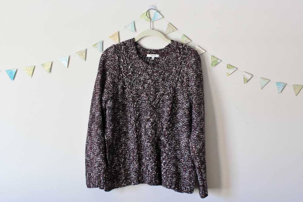 Madewell Firelight Marled Pullover Cableknit Sweater in a winter capsule wardrobe for Project 333