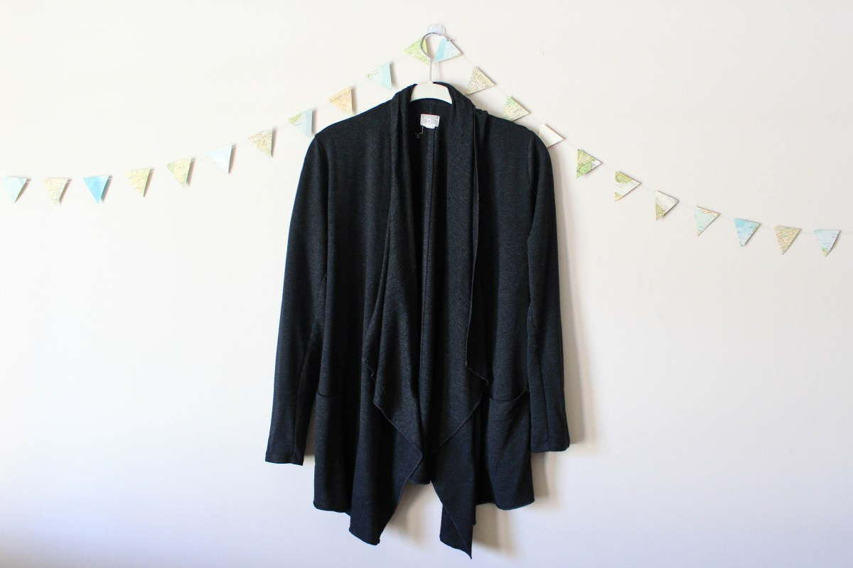 Charcoal Gray Cardigan in a winter capsule wardrobe for Project 333