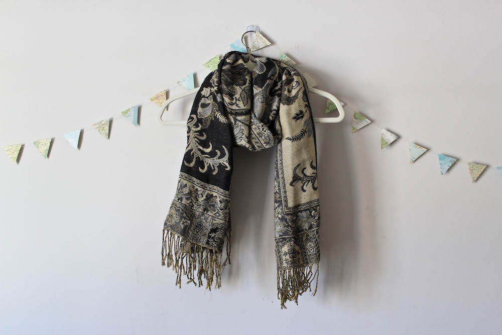 Green Tapestry Scarf in a winter capsule wardrobe for Project 333