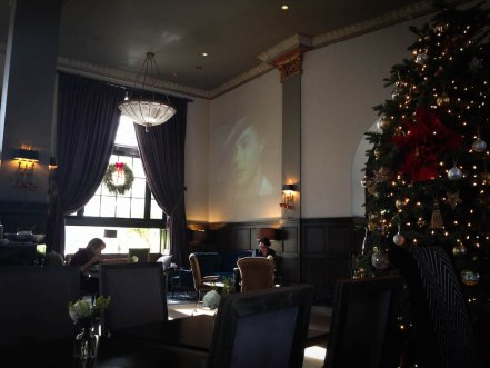 Casablanca during breakfast at the historic Culver Hotel in Culver City, CA during Christmastime in California