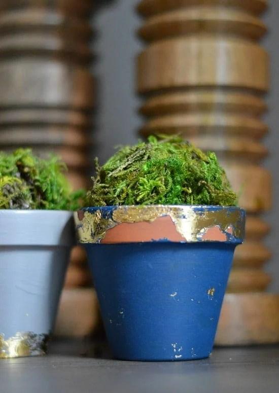 Simple DIY Crafts: Gold Leaf Terracotta Plant Pots