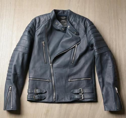 Unused Navy Leather Biker Jacket