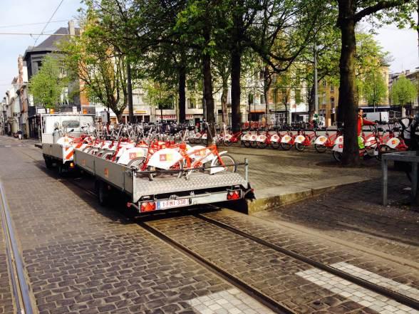 Na Antuérpia, empresa realiza constante troca das bicicletas públicas