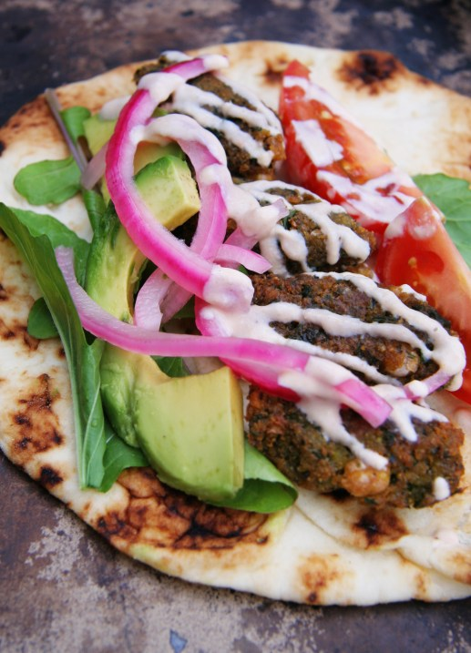 Chickpea & Broad Bean Falafels with Pickled Red Onions & Yogurt Tahini Sauce