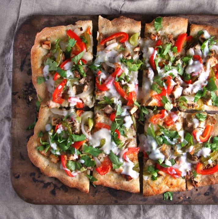 Tandoori Chicken Pizza with Honey Garlic Yogurt Sauce