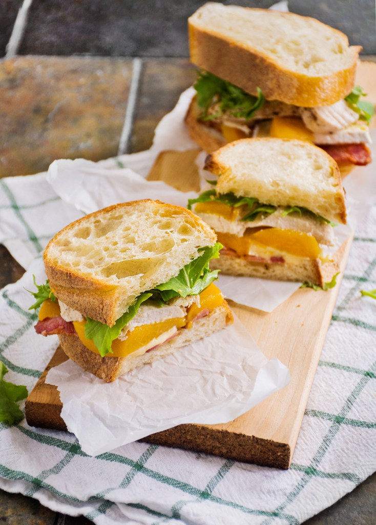 Chicken Club with Bacon, Peaches & Brie