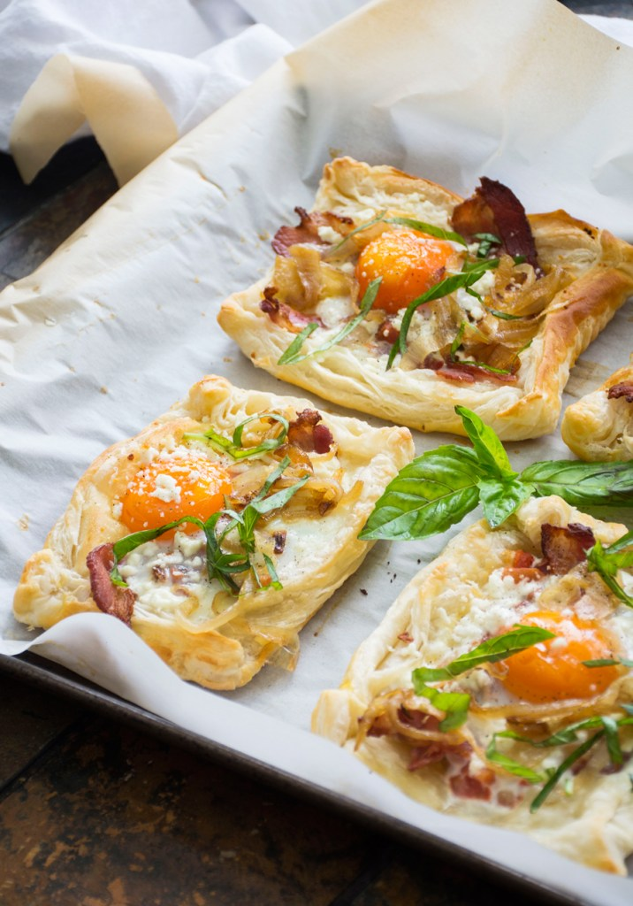 Bacon, Egg & Goat Cheese Breakfast Pastries