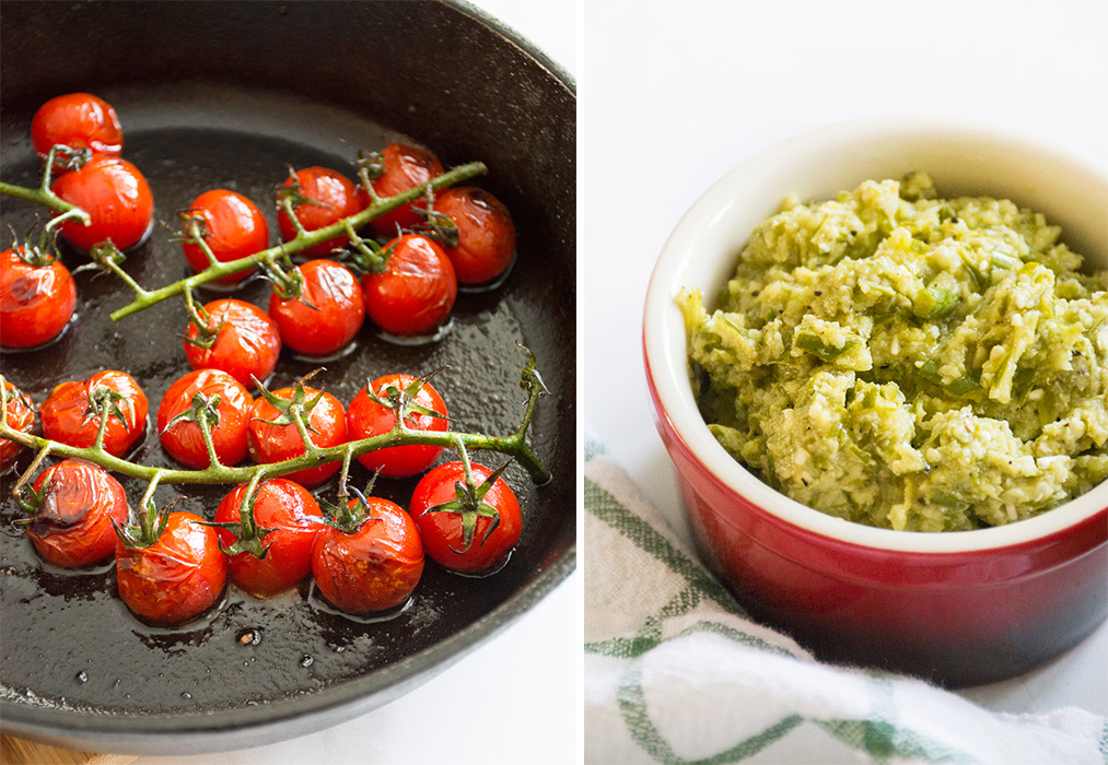 Blistered Tomatoes and Garlic Scape Pesto