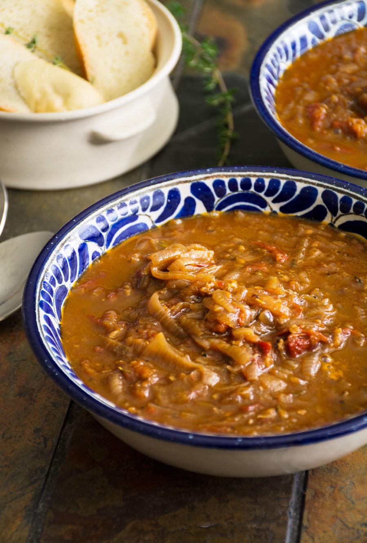 Slow Roasted Tomato & Caramelized Onion Soup