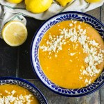 Greek Lentil Soup with Roasted Red Peppers & Lemon