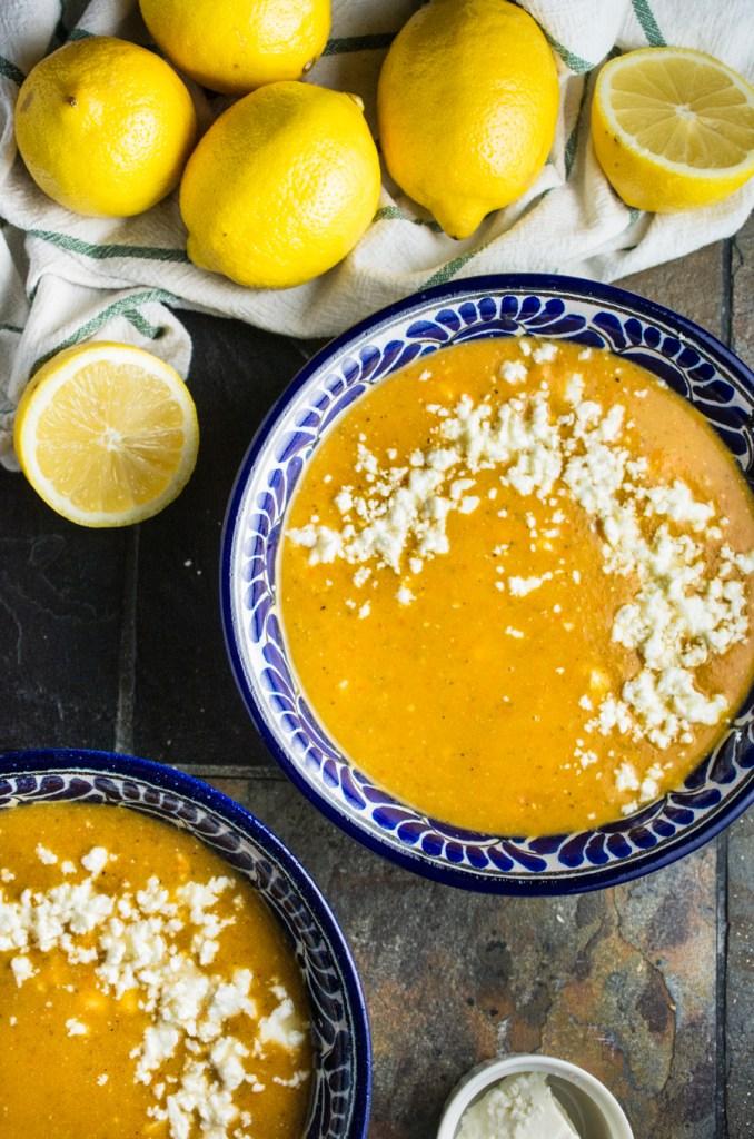 Greek Lentil Soup with Roasted Red Peppers & Lemon