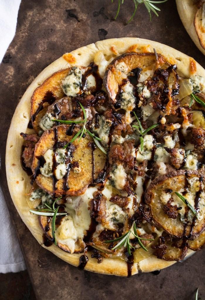 Potato, Caramelized Onion & Gorgonzola Pizza