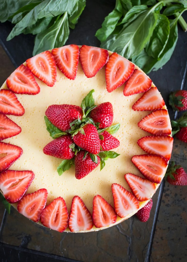 Strawberry Goat Cheese Cheesecake with Basil & Balsamic