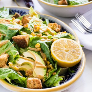 Chipotle Caesar Salad (vegan!) with Cornbread Croutons