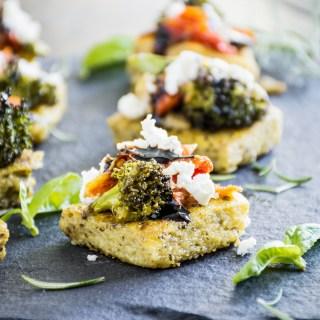 Roasted Vegetable Bruschetta on Pesto Polenta Bites