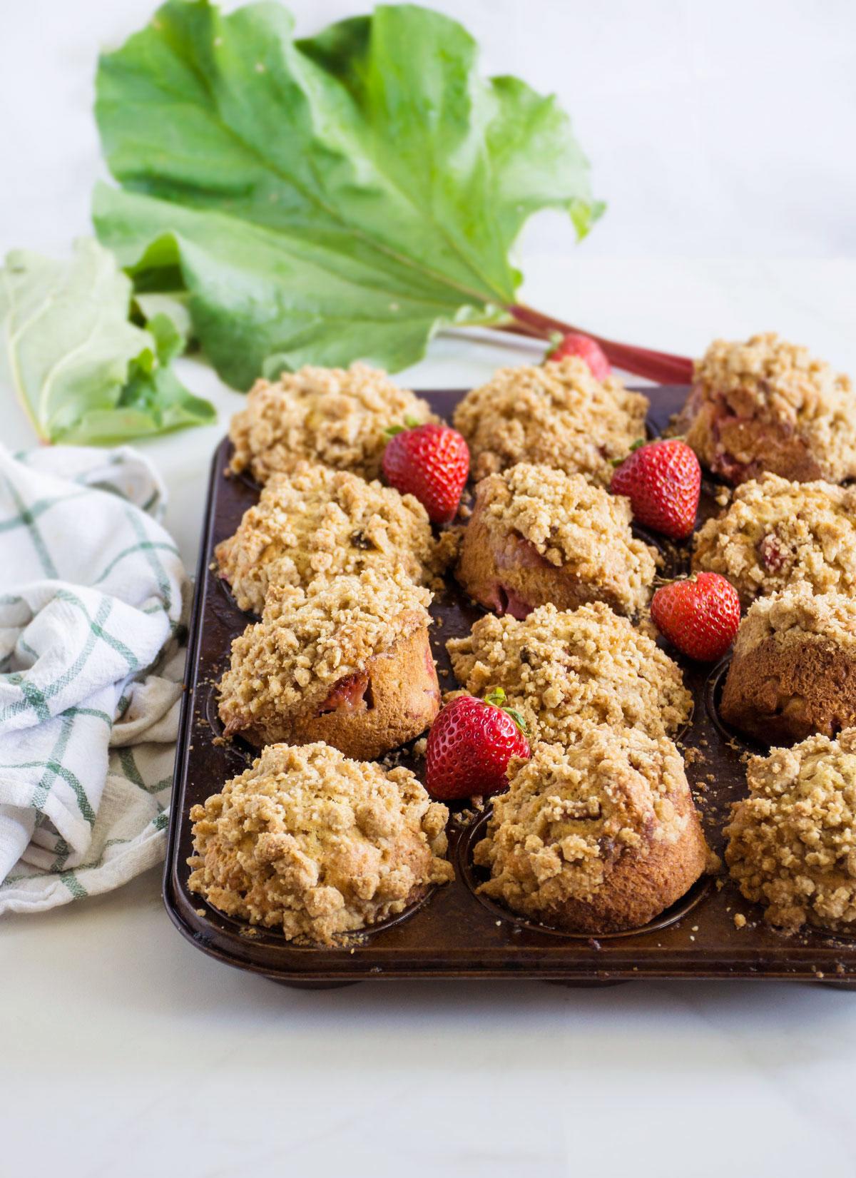 Strawberry Rhubarb Streusel Muffins Recipe — Dishmaps