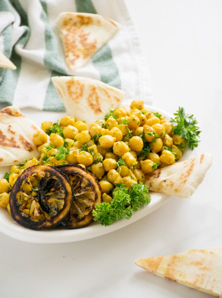 Marinated Chickpea Salad with Charred & Preserved Lemons