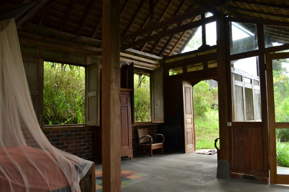 View from the bed, out the front door of the Imah Guru.