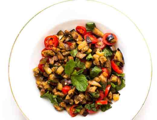 grilled eggplant mint salad recipe