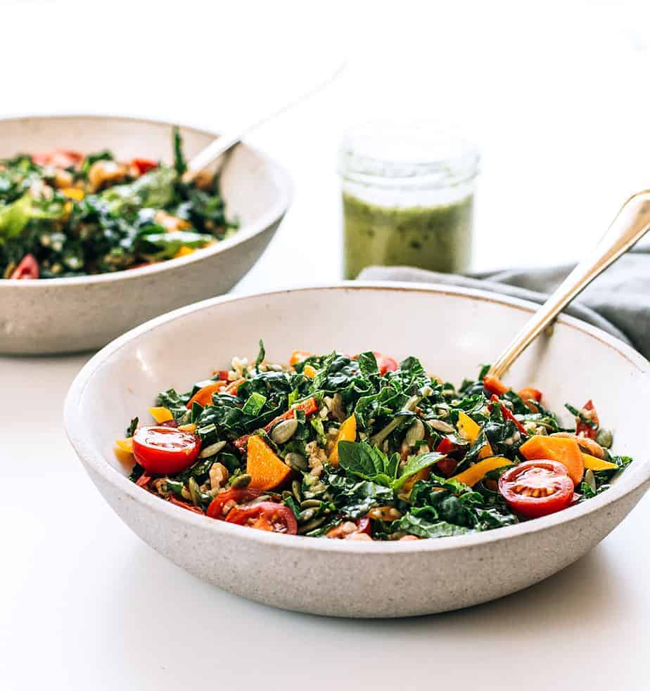 Freekeh Salad with Kale, Sweet Potatoes & Homemade Lime Cilantro Dressing