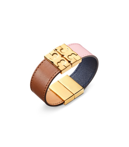 TB Color-Block Reversible Leather Bracelet 48130 in Blush-Navy-English Tan