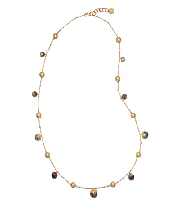 TB Logo Bead Rosary 47537 in Agate-Tory Gold