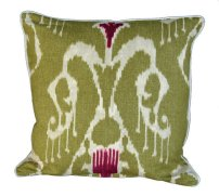 Magnificat Olive Ikat Throw Pillow