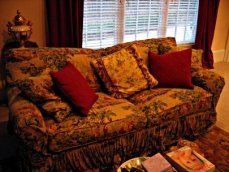 Bohemian Chic toile sofa with exotic pillow collection