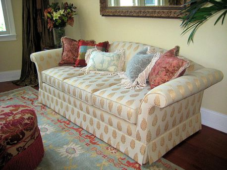 Hollywood Regency Sofa has beautiful flared arms, perfect for a grand space.