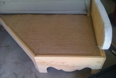 Sofa springs covered in burlap before upholstery