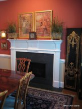 Vintage Chinese prints over the fireplace