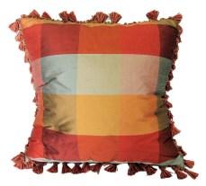 Woven Silk Plaid Pillow